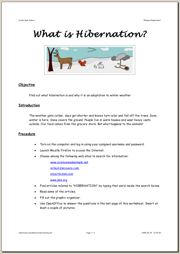 Hibernation Worksheet Hibernation: page 1
