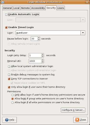 login window preferences